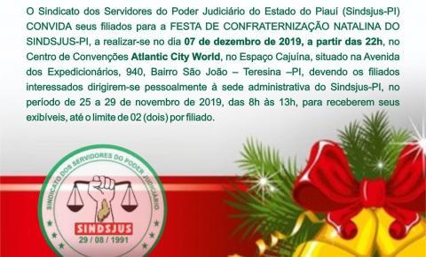 Festa de Confraternização do Sindsjus-PI/2019 - CONVITE