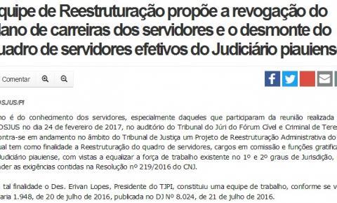 Equipe de Reestruturação propõe a revogação do Plano de carreiras dos servidores e o desmonte do quadro de servidores efetivos do Judiciário piauiense